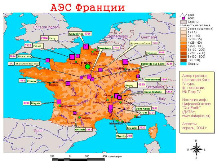аэс франции, карта атомных станций франции
